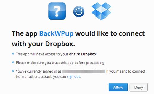 BackWPup-Dropbox-yonlendirme