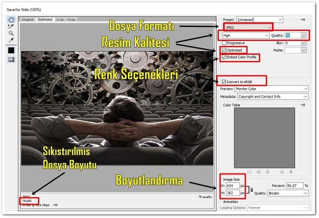 Wordpress resim optimizasyonu - photoshop ile resim sıkıştırma