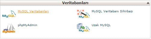 cpanel üzerinden veritabanı ekleme