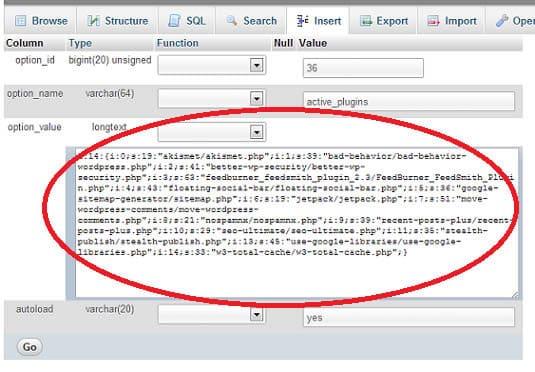MySQL üzerinden eklenti etkisizleştirme