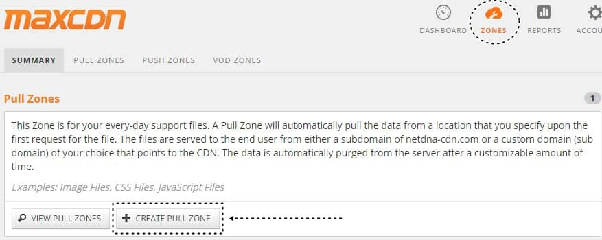 CDN Kullanımı MaxCDN pull zone oluşturma