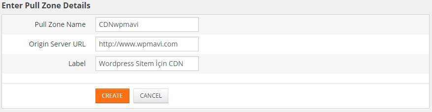 Wordpress CDN Kullanımı Pull Zone Detayları