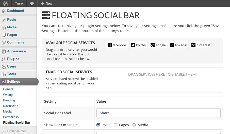 floating sosyal paylaşım eklentisi
