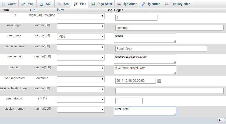 MySQL Üzerinden Admin Ekleme Paneli