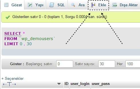 Mysql üzerinden wordpress admin ekleme wp-users tablosu kullanıcı ekleme