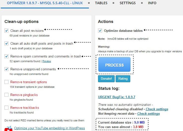 Wordpress Veritabanı Temizleme - Veritabanı Optimizasyonu