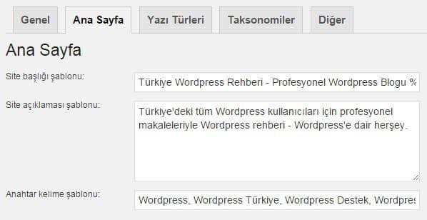 Wordpress SEO by Yoast Başlık ve Metalar - Ana Sayfa