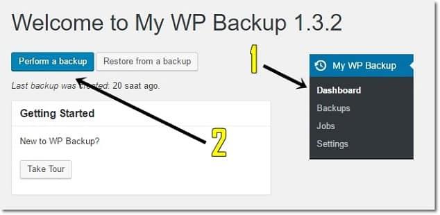 Wordpress yedek alma eklentisi ile backup oluşturma