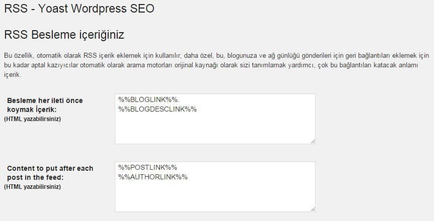 Wordpress SEO by Yoast - Rss Ayarları