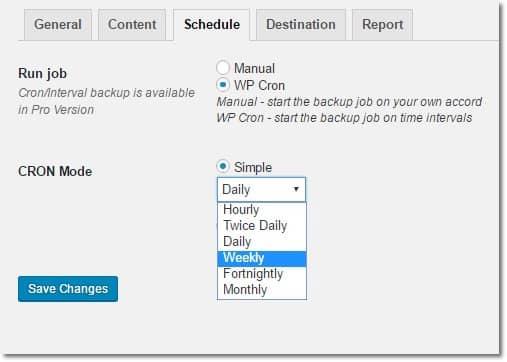 Wordpress Otomatik Yedekleme Zaman Seçimi