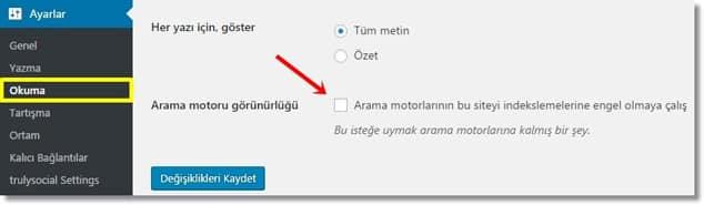 Wordpress SEO Arama Motorlarına Siteyi Kapatma