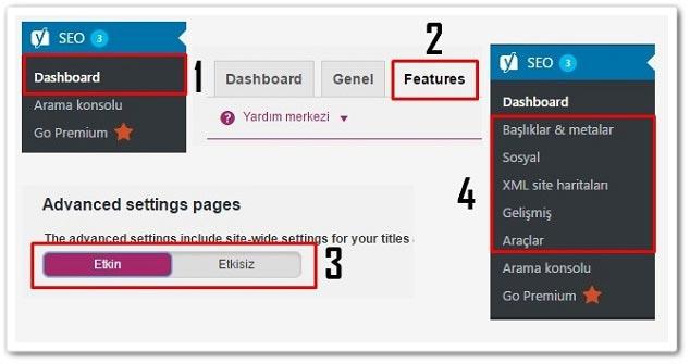 Wordpress Yoast SEO Gelişmiş Ayarlarını Aktif Etme
