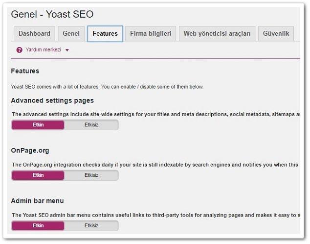 Wordpress Yoast SEO Features Sekmesi Ayarları