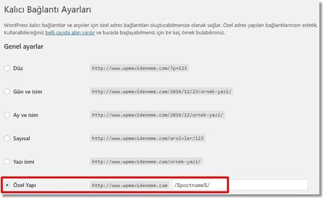 Wordpress SEO URL Yapısı Belirleme
