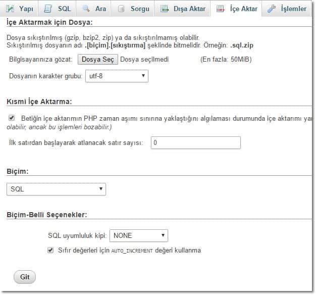 Wordpress Site Yedeği Geri Yükleme MySQL 2