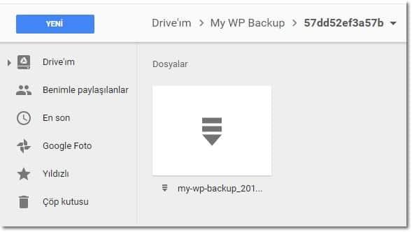 Wordpress yedek alma google drive ekrani