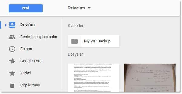 Wordpress yedek alma google drive ekranı