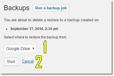 Wordpress yedek geri yükleme ekranı