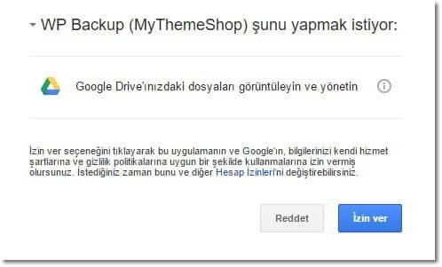 Wordpress yedekleme google drive