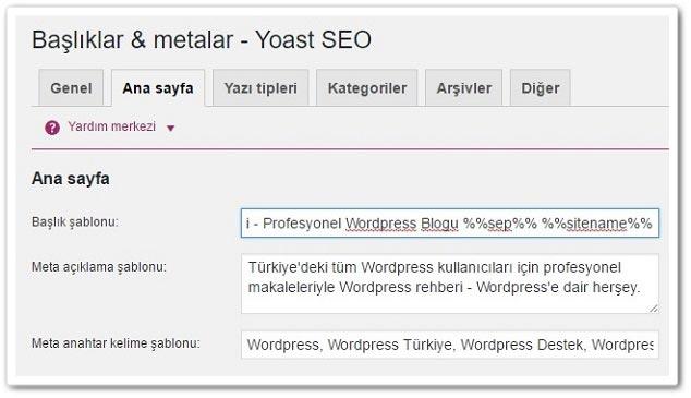 Wordpress Yoast SEO Başlık ve Metalar - Ana Sayfa