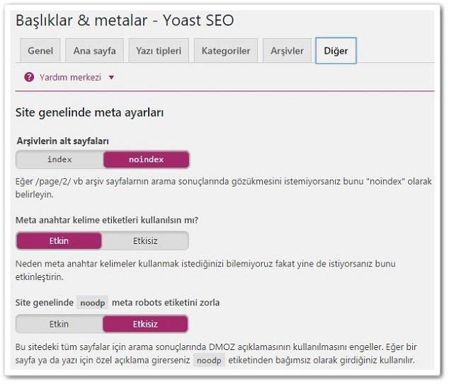 Wordpress SEO by Yoast - Başlık ve Metalar - Diğer Ayarlar