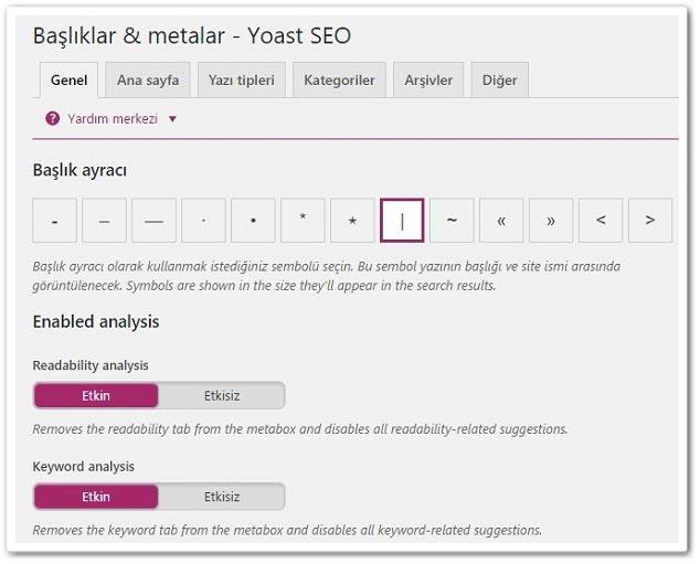 Wordpress Yoast SEO Başlıklar & Metalar - Genel Ayarları
