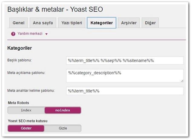 Wordpress Yoast SEO Basliklar Metalar Kategori Ayarları