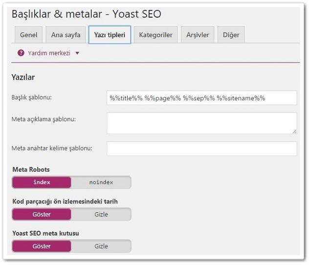 Wordpress Yoast SEO - Başlıklar ve Metalar - Yazı Türleri