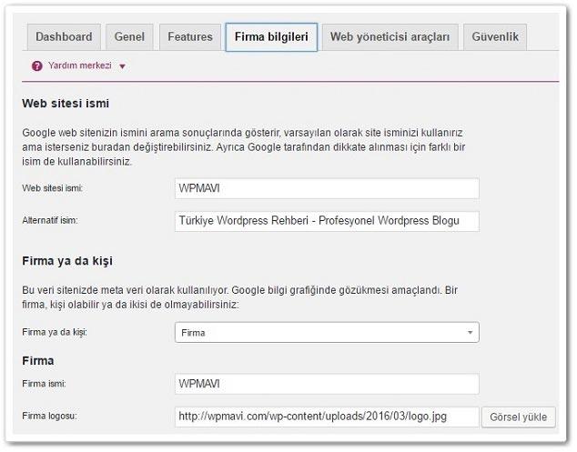 Wordpress Yoast Firma Bilgileri Ayarları