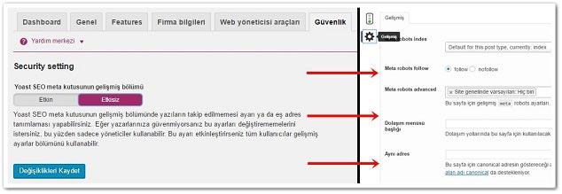 Wordpress Yoast SEO Güvenlik Ayarları