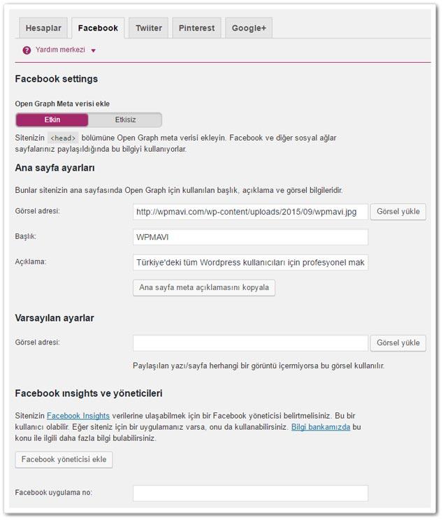 Wordpress Yoast SEO - Sosyal Facebook Ayarları