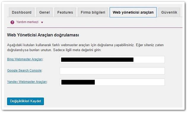 Wordpress Yoast SEO Web Yöneticisi Araçları Ayarları