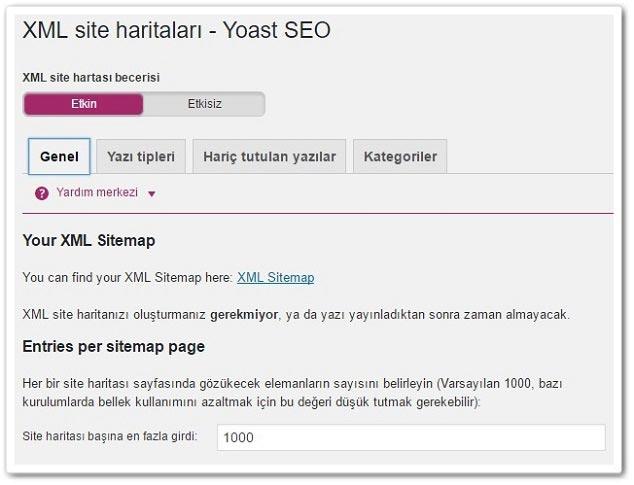 Wordpress Yoast SEO - Site Haritası Ayarları - Genel
