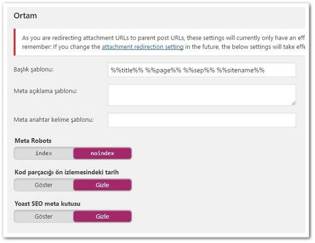 Wordpress Yoast SEO Yazı Tipleri Ortam Ayarları