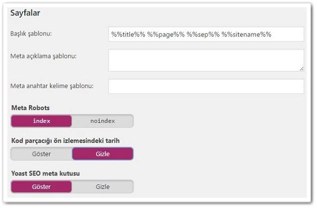 Wordpress Yoast SEO Yazı Tipleri - Sayfa Ayarları