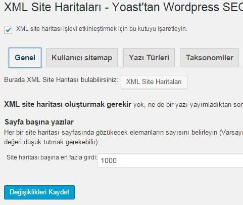Wordpress SEO by Yoast - Site Haritası Ayarları - Genel