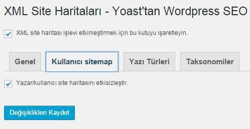 Wordpress SEO by Yoast - Site Haritası Ayarları - Kullanıcı Sitemap