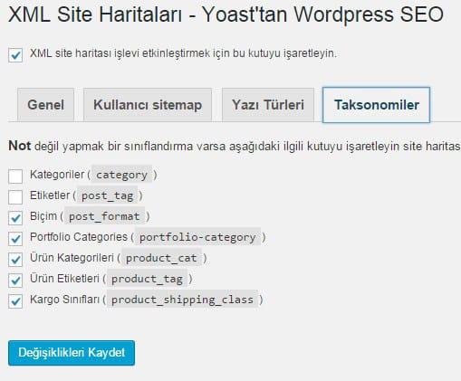 Wordpress SEO by Yoast - Site Haritası Ayarları - Taksonomiler