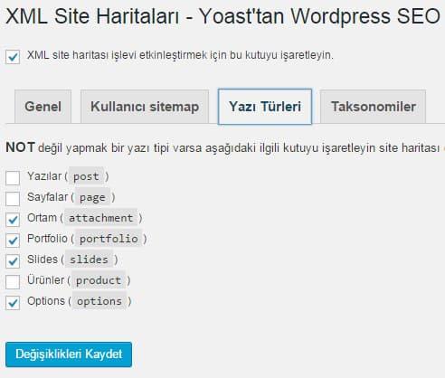 Wordpress SEO by Yoast - Site Haritası Ayarları - Yazı Türleri