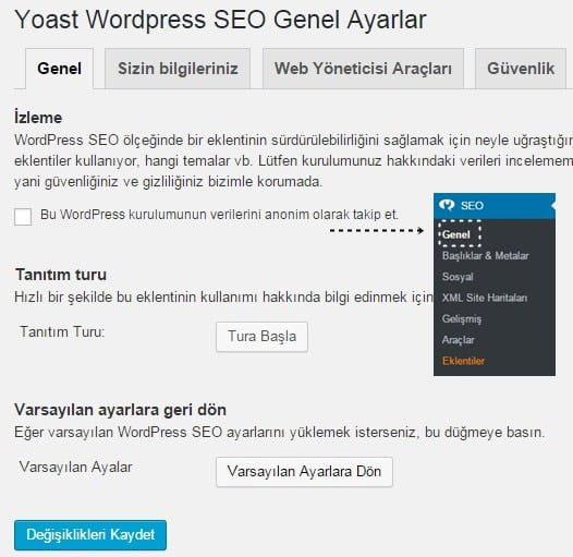 Wordpress SEO by Yoast Eklentisi Başlangıç Sekmesi