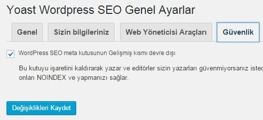 Wordpress seo by yoast güvenlik ayarları