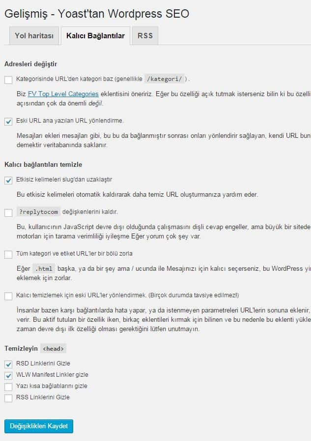 Wordpress SEO by Yoast - Kalıcı Bağlantı Ayarları