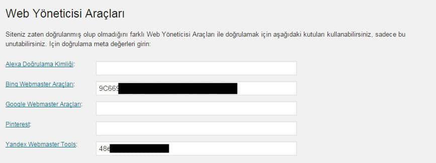 Wordpress SEO by Yoast Web Yöneticisi Araçları Ayarları