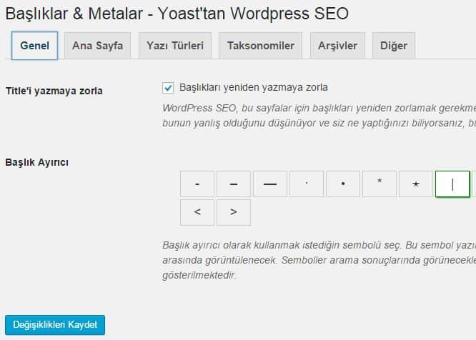 Wordpress SEO by Yoast Başlıklar & Metalar - Genel Ayarları