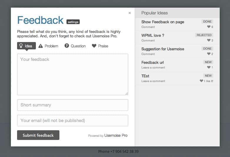 Wordpress Geri Bildirim Formu