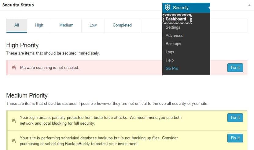 iThemes Security Ayarları Dashboard