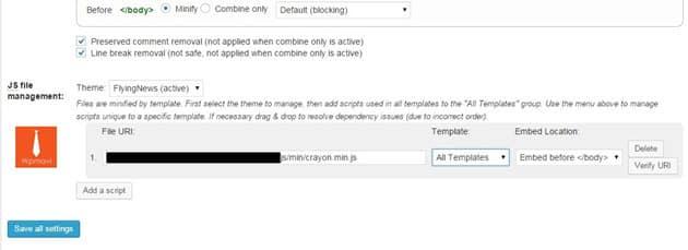 w3 total cache js file management ayarları