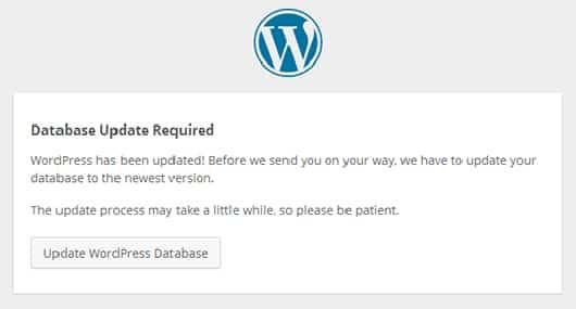 wordpress veritabanı güncelleme uyarısı