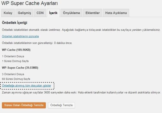 wp super cache içerik ayarları