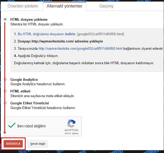 Google Site / Blog Kaydı Doğrula
